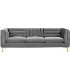 Cooper Gray Channel Tufted Performance Velvet Sofa