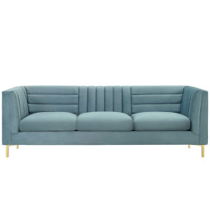 Cooper Light Blue Channel Tufted Performance Velvet Sofa