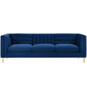 Cooper Navy Channel Tufted Performance Velvet Sofa