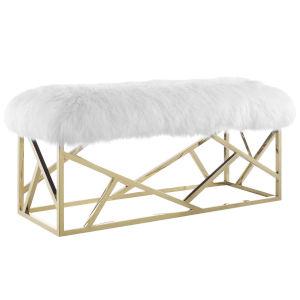 Cooper Gold White Sheepskin Bench