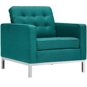 Linden Teal Upholstered Fabric Armchair