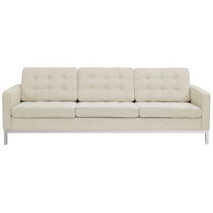 Linden Beige Upholstered Fabric Sofa