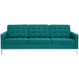 Linden Teal Upholstered Fabric Sofa