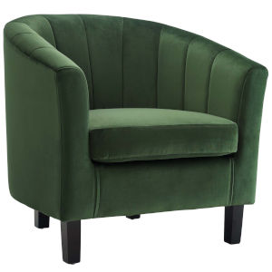 Cooper Emerald Channel Tufted Performance Velvet Armchair