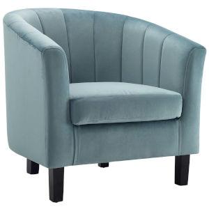 Cooper Light Blue Channel Tufted Performance Velvet Armchair