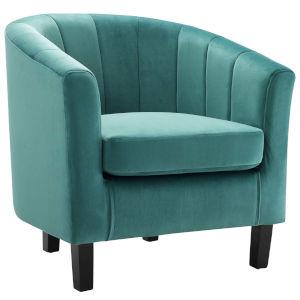 Cooper Teal Channel Tufted Performance Velvet Armchair