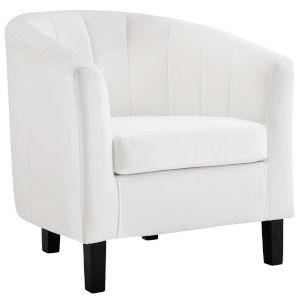 Cooper White Channel Tufted Performance Velvet Armchair