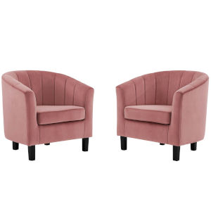 Cooper Dusty Rose Channel Tufted Performance Velvet Armchair, Set of Two