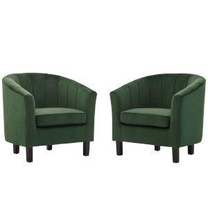 Cooper Emerald Channel Tufted Performance Velvet Armchair, Set of Two