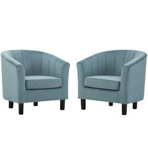 Cooper Light Blue Channel Tufted Performance Velvet Armchair, Set of Two