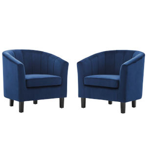 Cooper Navy Channel Tufted Performance Velvet Armchair, Set of Two