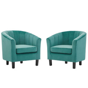 Cooper Teal Channel Tufted Performance Velvet Armchair, Set of Two