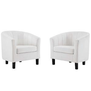 Cooper White Channel Tufted Performance Velvet Armchair, Set of Two