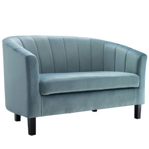 Cooper Light Blue Channel Tufted Performance Velvet Loveseat