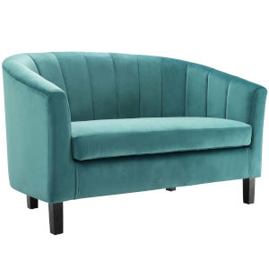 Cooper Teal Channel Tufted Performance Velvet Loveseat
