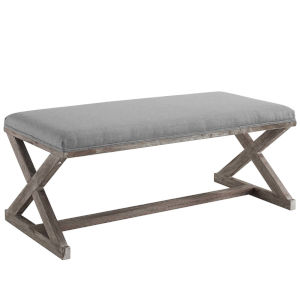 Hayden Light Gray Vintage French X-Brace Upholstered Fabric Bench
