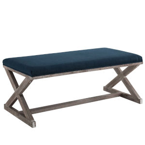 Hayden Navy Vintage French X-Brace Upholstered Fabric Bench
