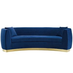 Cooper Navy Curved Performance Velvet Sofa