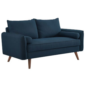 Uptown Azure Upholstered Fabric Loveseat