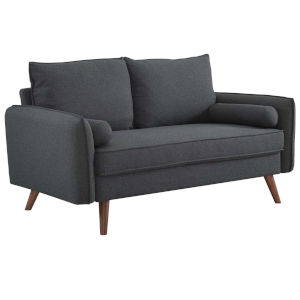 Uptown Gray Upholstered Fabric Loveseat