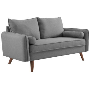 Uptown Light Gray Upholstered Fabric Loveseat