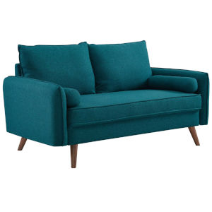Uptown Teal Upholstered Fabric Loveseat