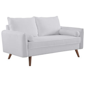 Uptown White Upholstered Fabric Loveseat