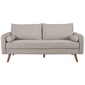 Uptown Beige Upholstered Fabric Sofa