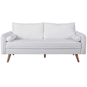 Uptown White Upholstered Fabric Sofa