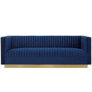 Cooper Navy Vertical Channel Tufted Performance Velvet Sofa