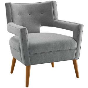 Monroe Light Gray Upholstered Fabric Armchair