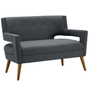 Monroe Gray Upholstered Fabric Loveseat