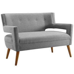 Monroe Light Gray Upholstered Fabric Loveseat
