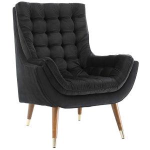 Vivian Black Button Tufted Performance Velvet Lounge Chair