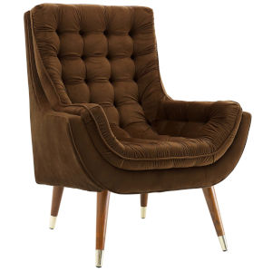 Vivian Brown Button Tufted Performance Velvet Lounge Chair