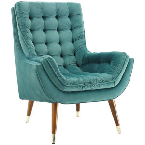 Vivian Teal Button Tufted Performance Velvet Lounge Chair