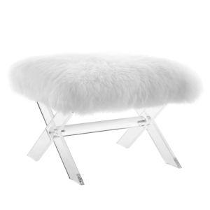 Vivian Clear White Sheepskin Bench