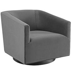 Cooper Gray Accent Lounge Performance Velvet Swivel Chair