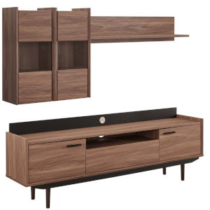 Uptown Walnut Black Two-Piece Entertainment Center