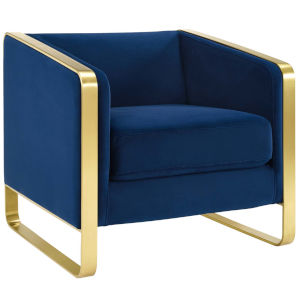 Cooper Navy Accent Club Lounge Performance Velvet Armchair