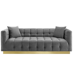 Vivian Gray Biscuit Tufted Performance Velvet Sofa