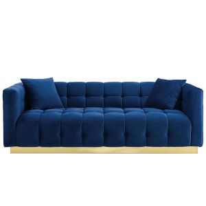 Vivian Navy Biscuit Tufted Performance Velvet Sofa