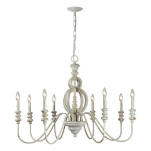 Iris Antique White Eight-Light Chandelier