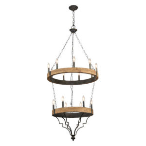Iris Antique Black and Gray Wash 15-Light Chandelier