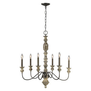 Iris Weathered Wood and Black Six-Light Chandelier