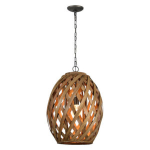 Iris Natural Wicker and Pewter One-Light Chandelier