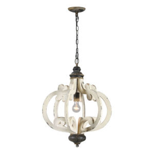 Iris Cottage White and Antique Black One-Light Chandelier