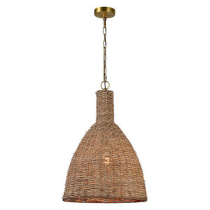 Iris Natural Wicker and Gold One-Light Pendant
