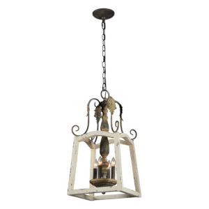 Iris Cottage White and Gold Four-Light Pendant