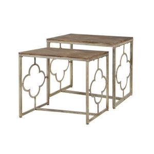 Willow Distressed Cream and Driftwood Nesting Table, Set of 2